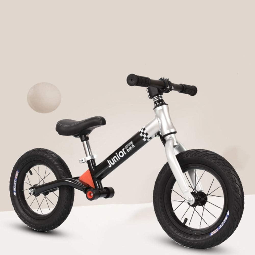 MENGLJ Equilibrio De Los Niños Coche Deslizante Coche 12 Pulgadas Bebé Sin Bicicleta De Pedal 3-6 Años Yo Coche Niño Scooter,Silverblack