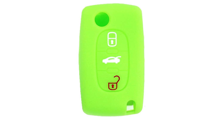 Cubierta de Silicona para Llave con Control Remoto Peugeot 106 107 206 207 307 308 407 408 409 607, Idea para Regalo, Llavero (Verde)