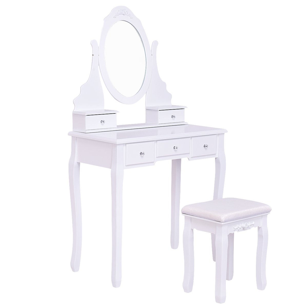 Giantex White Bathroom Vanity Dressing Table Set Mirror with Stool (Round Mirror 5 Drawers)