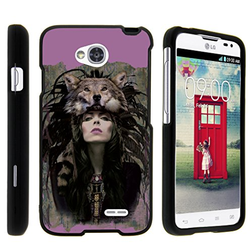 Snap On Case for LG Ultimate 2 L41C / LG Optimus L70 / LG Realm LS620 , Slim Fit Snug Rubberized Custom Unique Image Cover Shell Black with Designs By TurtleArmor   2 in 1 Combo Includes Clear Screen Protector and Case - Woman Wolf Purple (Boost Mobile Phones Case Lg Realm)