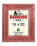 BarnwoodUSA | Farmhouse Picture Frame With 3 Inch Wide Frame | 100% Reclaimed Wood (16×20, Rustic Red) For Sale