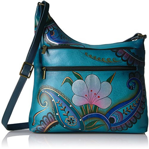Anuschka Floral Crossbody denim Paisley Handpainted Anna Denim Leather Floral Dpf Assymetric Paisley rrUgxS