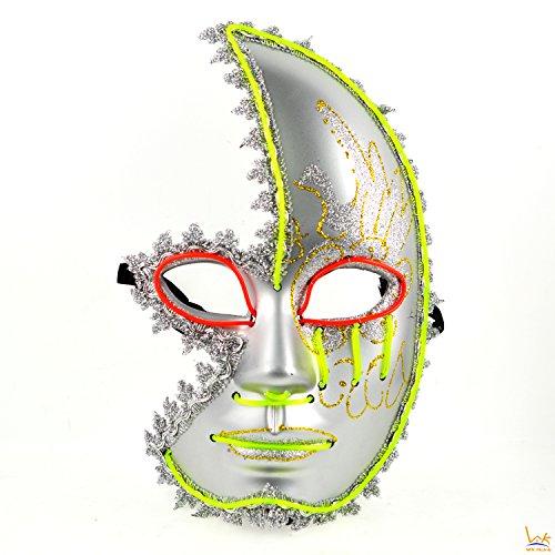 Horror Venetian Sparkle Halloween Half Face Mask - 2 Color LED Festival (Half A Face Halloween)