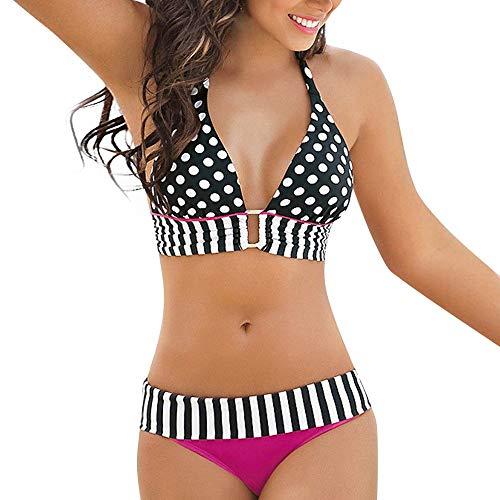 Limsea Women Bikini Set Bandage for Women Swimwear Vintage Polka Dot High Waisted Bathing Suits Bikini Set Two Piece Swimsuits Padded Halter Push-up Plus Size Tankini Swim Dress -