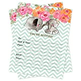 Baby Shower Invitations Mint Chevron Elephant 20 Count With Envelopes