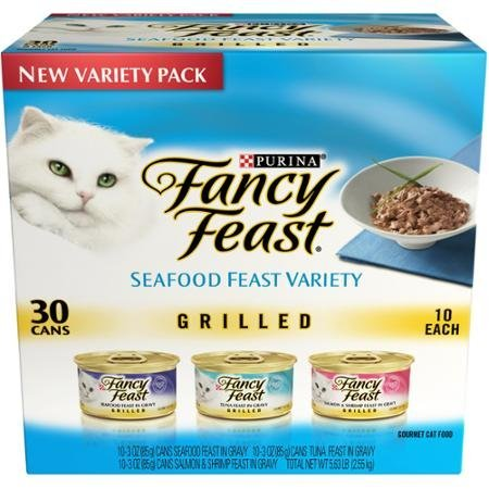 Purina Fancy Feast 30 Cans of Wet Cat Food, Grilled Seafood