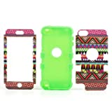JUJEO 3-In-1 Tribal Tribe Pattern PC and Silicone Hybrid Case for iPod Touch 5, Green