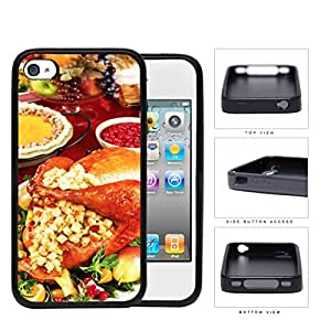 Thanksgiving Turkey Dinner And Stuffing Rubber Silicone TPU Cell Phone Case Apple iPhone 4 4s