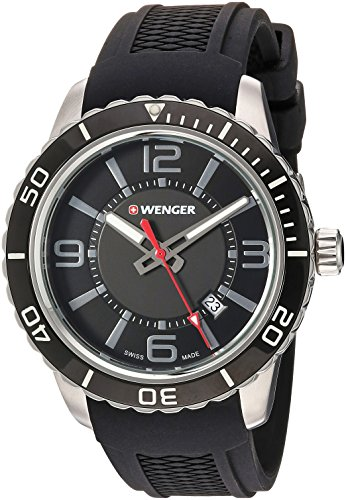 Wenger Men's 'Roadster' Swiss Quartz Stainless Steel and Silicone Casual Watch, Color:Black (Model: (01 Fashion Watch)
