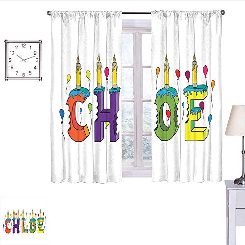 alisoso Chloe Blackout Curtains for Bedroom Lettering with Cheerful Bitten Cake Candles Girly Birthday Party Design First Name Light Curtain Multicolor W55 x L39