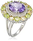 Sterling Silver Oval Shape Amethyst, Citrine and Peridot with Round Created White Sapphire Cocktail Ring, Size 7