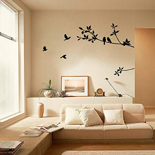 ajhsuwn Tree Branch Black Bird Art Wall Stickers Removable Vinyl Decal Home Wall Stickers Home Decor