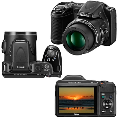 Nikon COOLPIX L820 16 MP Digital Camera with 30x Zoom (Black) + 4 AA Batteries with AC/DC Rapid Charger + 11pc Bundle 32GB Deluxe Accessory Kit