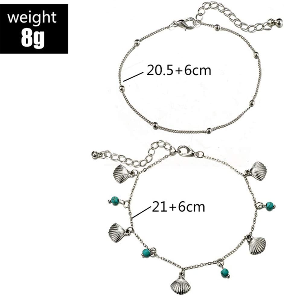 Timesuper Bohemian Charm Shell Turquoise Anklets Double-Layer Anklets for Women Jewelry Gift