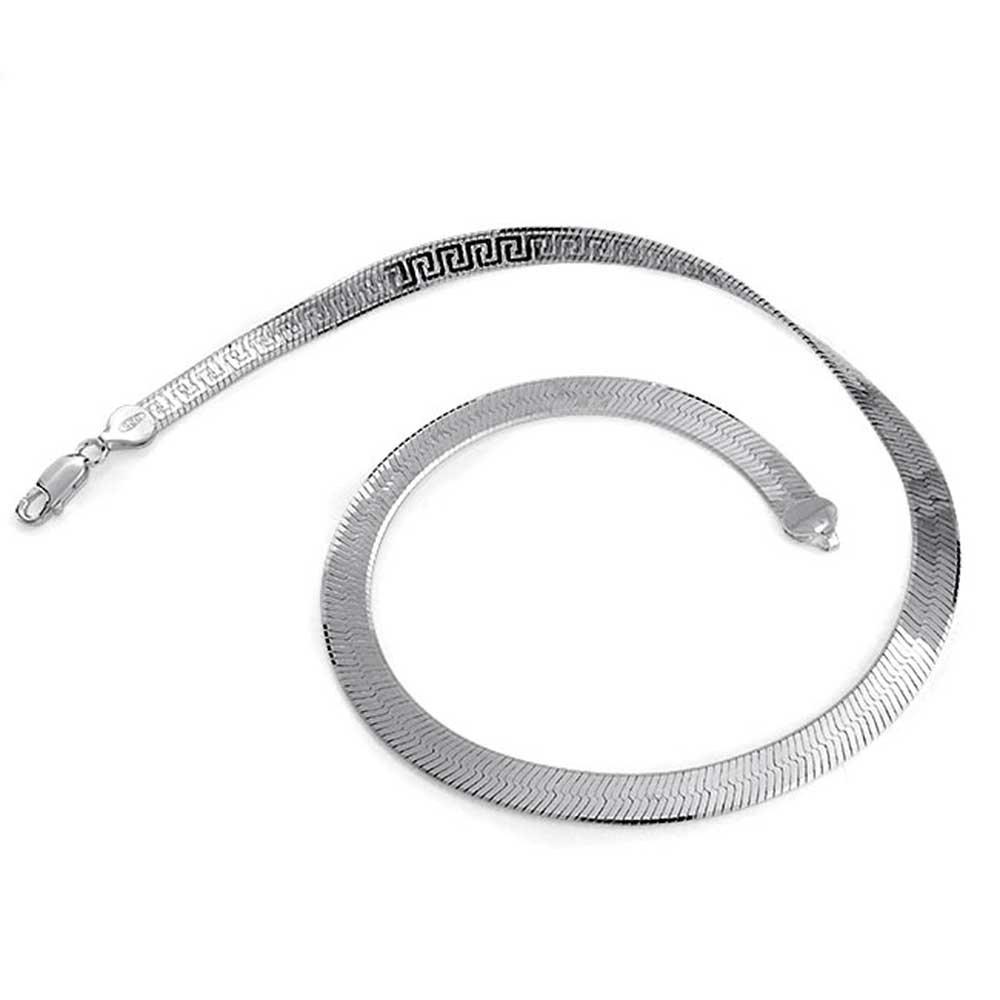 Flexible Reversible Flat Greek Key 925 Sterling Silver Herringbone Necklace For Women Made In Italy 16 18 Inch