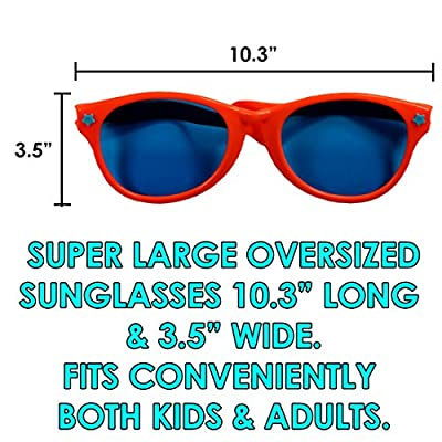 Dazzling Toys 6 Pack Plastic Jumbo Blue Lens Sunglasses for Costumes or Photo Booth Props: Toys & Games
