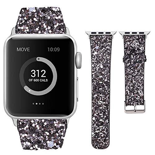 Moonooda Glitter Sparky Strap Women Wristband with Sequins Replacement for iWatch Band 44mm 42mm 40mm 38mm Feminine Compatible for Series 4 3 2 1, Dark Grey