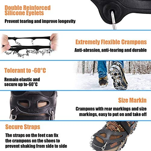 ELIX Walk Traction Ice Cleat, All-Surface Spikes Crampons, Spikes Footwear Traction for Shoes and Hiking Boots, for Men and Women, Non-Slip Spikes, for Walking on Snow and Ice