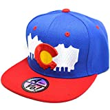 AblessYo Colorado Flag Flat Snapback Twill Bill Visor Cap Hiphop Baseball Hat AYO1141 (Blue/Red)