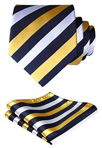(HISDERN Extra Long Striped Tie Handkerchief Men's Necktie & Pocket Square Set)