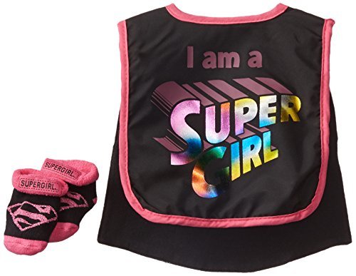 I Am A Supergirl Caped Bib and Bootie Set
