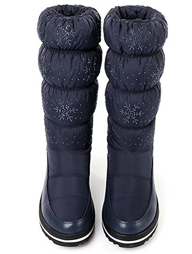 Slip SnowBlue Fur Lined 5 On High Winter Size Boots 5 Platform Wedge 9 Warm Knee 2 Waterproof Snow GFONE Rhinestones Boots Women's Rw8Cnx1q6