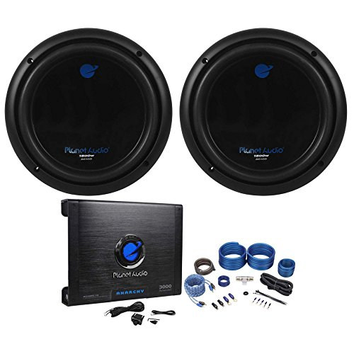 Package: (2) Planet Audio AC10D 10' Dual 4-OHM Car Subwoofers Totaling 3000 Watt + Planet Audio Anarchy AC3000.1D 3000 Watt Class D Mono Car Amplifier 1 Ohm Stable With Remote + Rockville RWK41 4 Gauge 2 Channel Complete Wire Kit With RCA Cables
