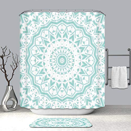Custom Personalized Shower Curtain And Floor Mat Aqua Mandala Tribal Ethnic Design Tie Dye Floral Leaves Seem Design Image Art Print Sea Fabric Bathroom Curtains with Non-Slip Floor Doormat Rugs (Tie Dye Toothbrush)