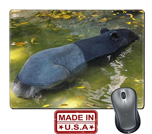 """Liili Natural Rubber Mouse Pad/Mat with Stitched Edges 9.8"""" x 7.9"""" tapir wild adult male in river corcovado national park costa rica IMAGE ID - Park Meadows Mal"""