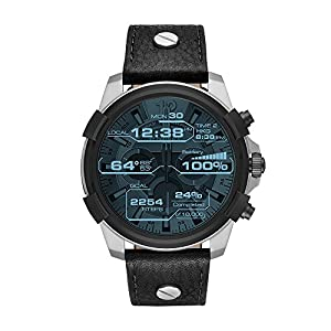Diesel On Men's Full Guard Stainless Steel and Leather Smartwatch DZT2001, Color: Black