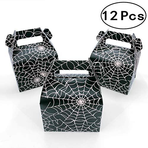 Black Halloween Party Favors Boxes Candy Treat Boxes Spider-Web Gift Boxes Wedding Baby Shower Birthday Party Boxes Supplies, 12pc