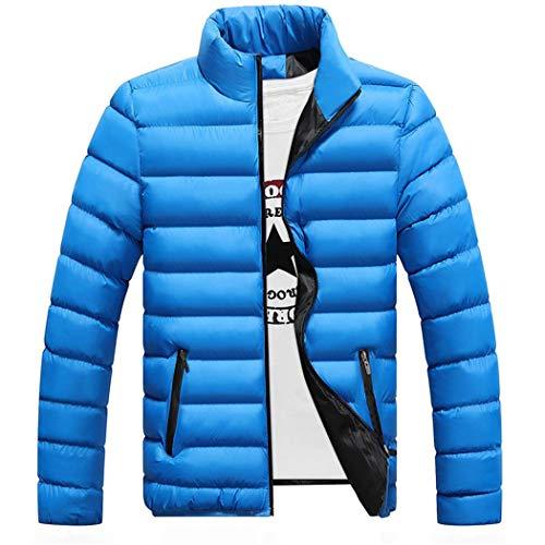 Cappotto Cielo Blu Colletto Dritto Piumino Lunga Manica Uomo Parka Giacca Tinta Invernale Unita Casual Soprabito rWnxrO