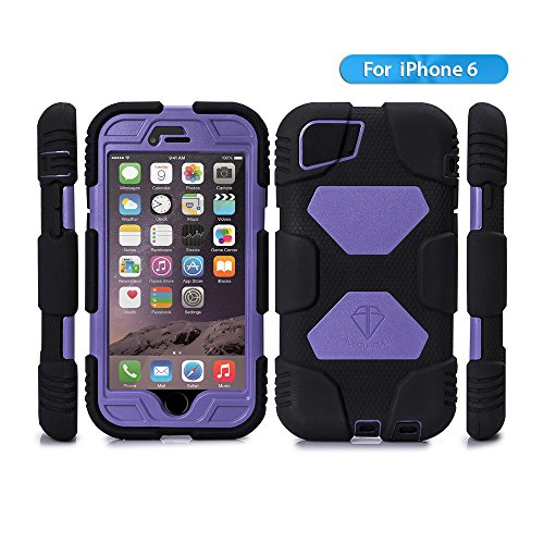 iPhone 6 case,ACEGUARDER Brand [Snowproof Rainproof Dirtproof] Heavy Duty Protection Cover Case With Kickstand and Locking Belt Swivel Clip for iPhone 6 4.7-inch (Black/Purple)