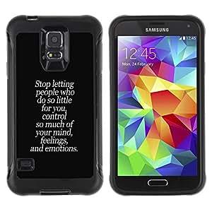 All-Round híbrido Heavy Duty de goma duro caso cubierta protectora Accesorio Generación-II BY RAYDREAMMM - Samsung Galaxy S5 SM-G900 - People Little Mind Feelings Quote Control