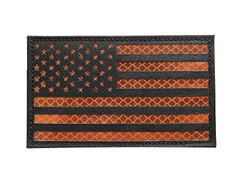 3x5 Large Black Brown Reflective US USA American Flag Patch
