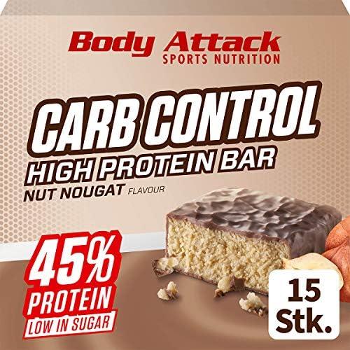 Body Attack Carb Control, Proteinriegel ohne Zuckerzusatz, Low Carb – High Protein, Eiweißriegel mit Whey, auch in der Mix-Box (Nut Nougat, 4 x 100g)