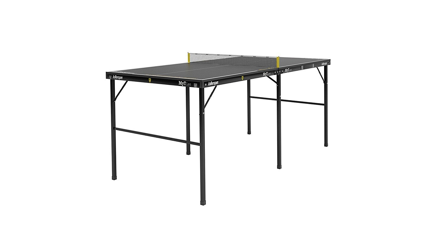 Killerspin MYT Lee Table Tennis Table - Small Foldable Black Ping Pong Table with Easy and Quick Setup