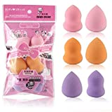 Kecooi 6Pcs Soft Elastic Professional Makeup Cleansing Sponge Gourd Dripping Puff Blenders & Sponges Water Droplets Gourd Shape Smooth Flawless Foundation Puff Powder for Face Coverup