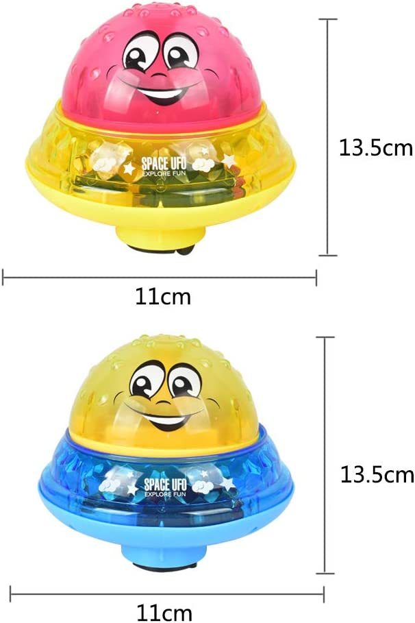 Yellow+Red Birthday Summer Gift for Baby Baby Bathtime Fun Toys HY-MS 2 Pack Electric Induction Sprinkler Bath Toy Music and Flashing Lights Shower Toys for Children
