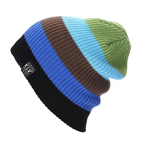 - Challyhope Rainbow Cap Striped Knitted Beanies Skiing Warm Cap Hats Slouchy Snow Ski Caps Headdress (Green, Free)