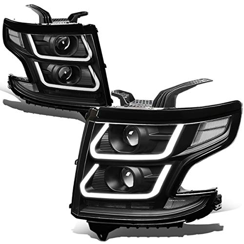 (For 15-18 Chevy Suburban/Tahoe Pair Black Houisng Clear Corner 3D LED DRL + Dual Projector Headlight/Lamps)