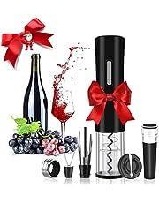 Rovtop Elektrische kurkentrekker automatische wijnflesopener van roestvrij staal met foliesnijder, wijnstopper, wijnschenker en wijnring (batterijen niet inbegrepen)
