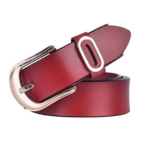 Red Genuine Belt (Talleffort Women's Jeans Genuine Cowhide Leather Belts (Red))