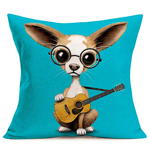 Aremazing Lovely Animals Elephant Baby Wearing Glasses Cotton Linen Home Decor Pillowcase Throw Pillow Cushion Cover 18 x 18 Inches (Moose Wearing Glasses/Holding The Guitar)