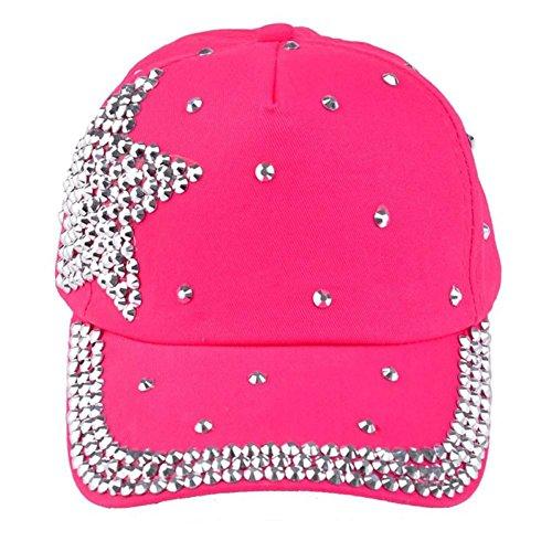 [Franterd, Fashion Baseball Cap Rhinestone Star Shaped Boy Girls Hat (Hot Pink)] (Baseball Girl Costume)