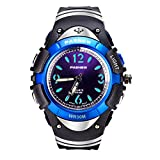 Waterproof Kids Watch for Girls Boys Time Machine Analog Watch LED Light 7 Colors Silicone Wristwatch Time Teacher for Little Kids Boys Girls Birthday Gift Toys (Black/Blue)