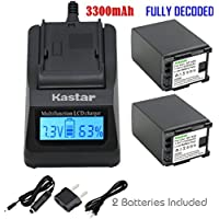 Kastar Ultra Fast Charger Kit + BP-828 Battery (2-Pack) for Canon BP-828 and Canon VIXIA HF G30, XA20, XA25 Camcorders [Over 3x faster than a normal charger with portable USB charge function]