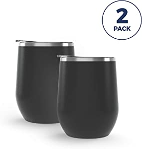 Maars Bev Stainless Steel Stemless Wine Glass Tumbler with Lid, Vacuum Insulated 12 oz Cup | Spill Proof, Travel Friendly, Classic Cocktail Drinkware - 2 Pack Matte Black
