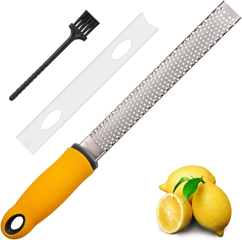 Lemon Zester, Cheese Grater, Parmesan Cheese, Ginger, Garlic, Chocolate, With Razor-Sharp Stainless Steel Blade, Protective Cover and Cleaning brush, Dishwasher Safe, by NSpring (narrowzester)