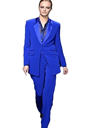 a9ba2080fadf Amazon.com: Women's Royal Blue Formal Pants Suits for Weddings Tuxedo  Ladies Business Office Suits Blazer: Clothing